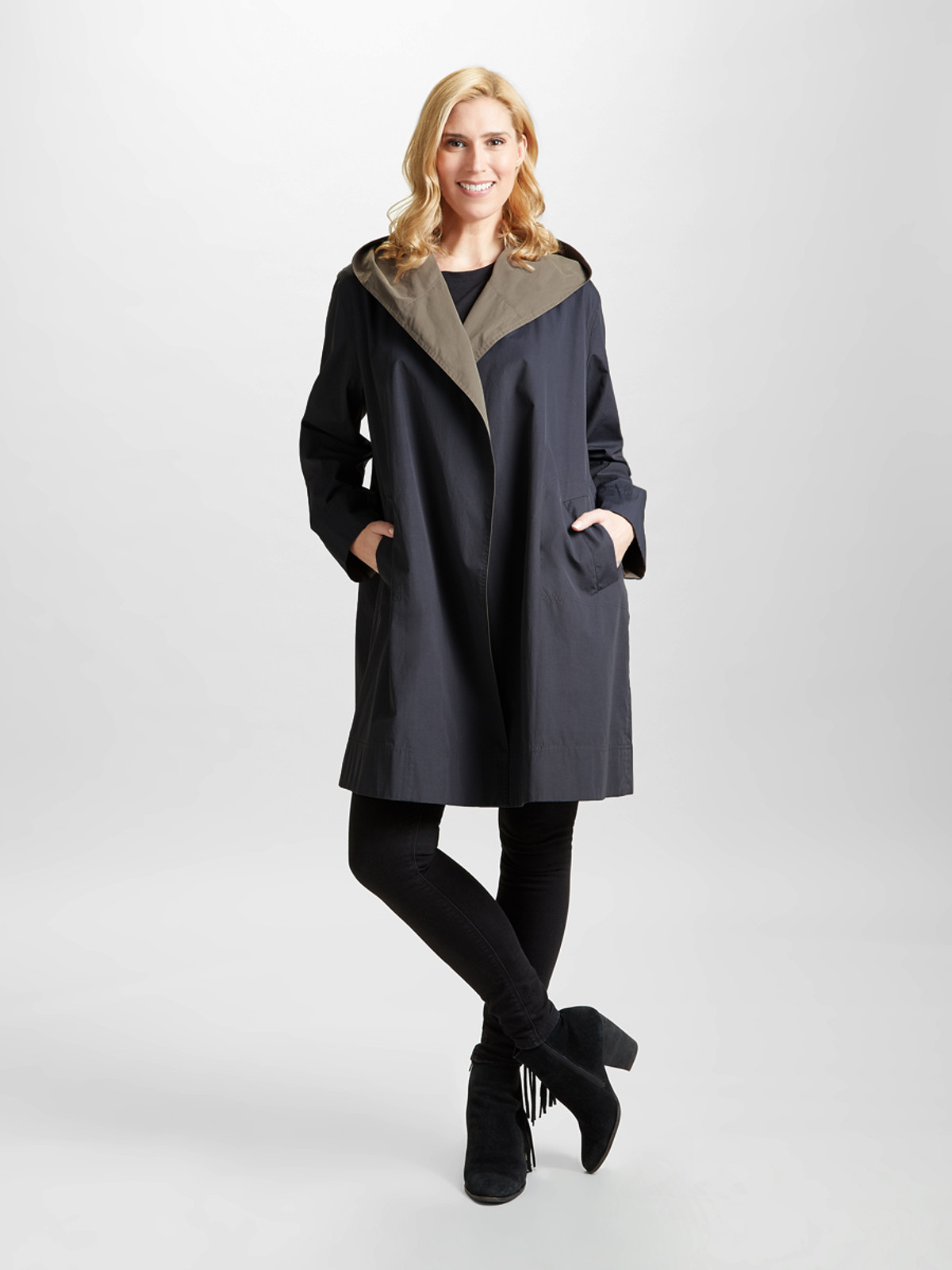 BROXBOURNE – Two Tone Hooded Wrap, Steel/Taupe