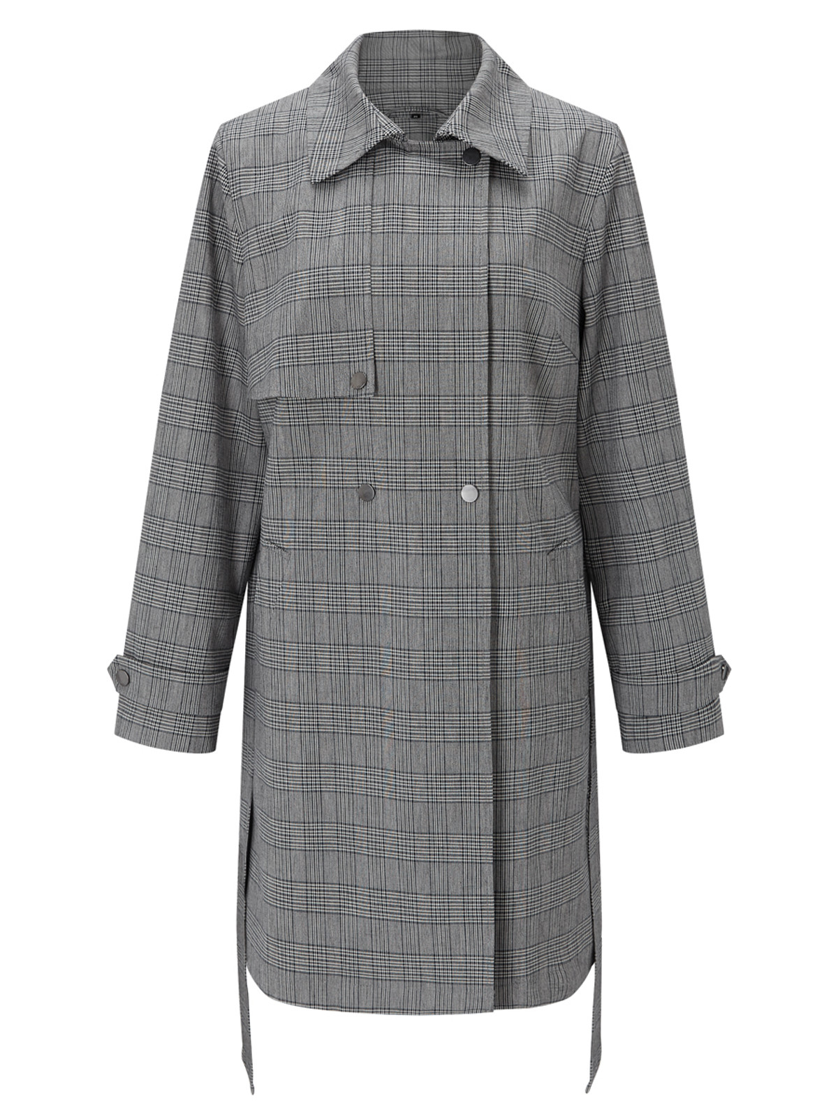 ELSTREE – Check Trench Coat, Grey