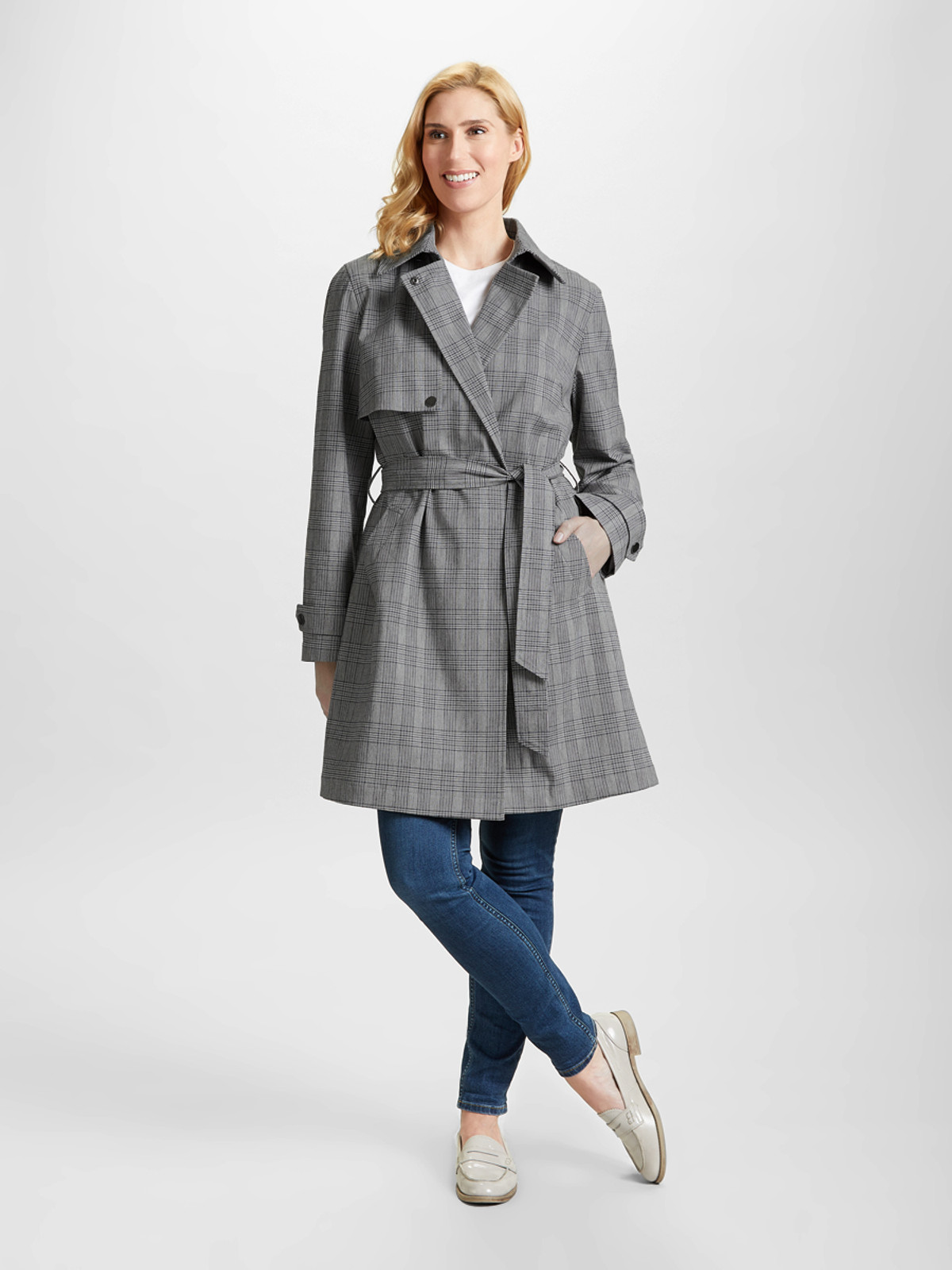Check Trench Coat, Grey
