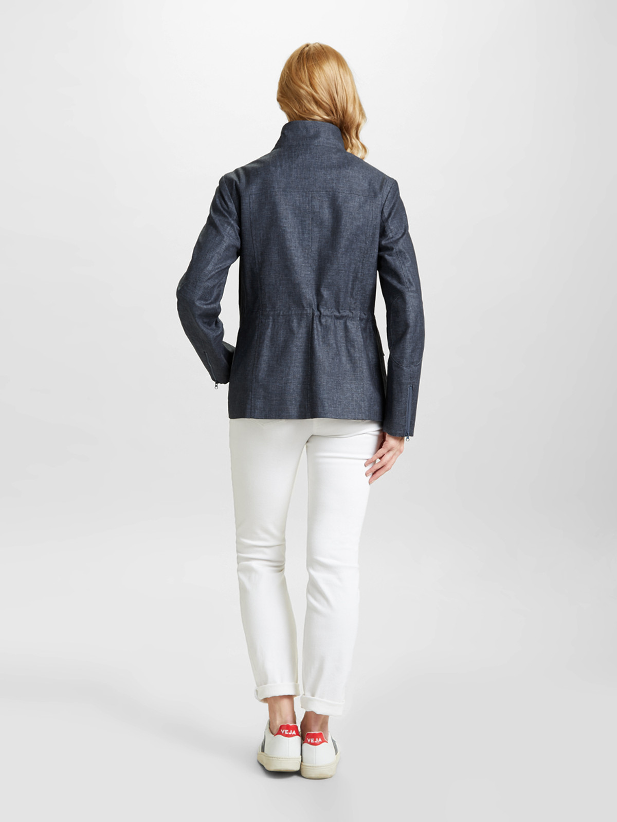 BRIMDOWN – Linen Look Safari Jacket, Denim