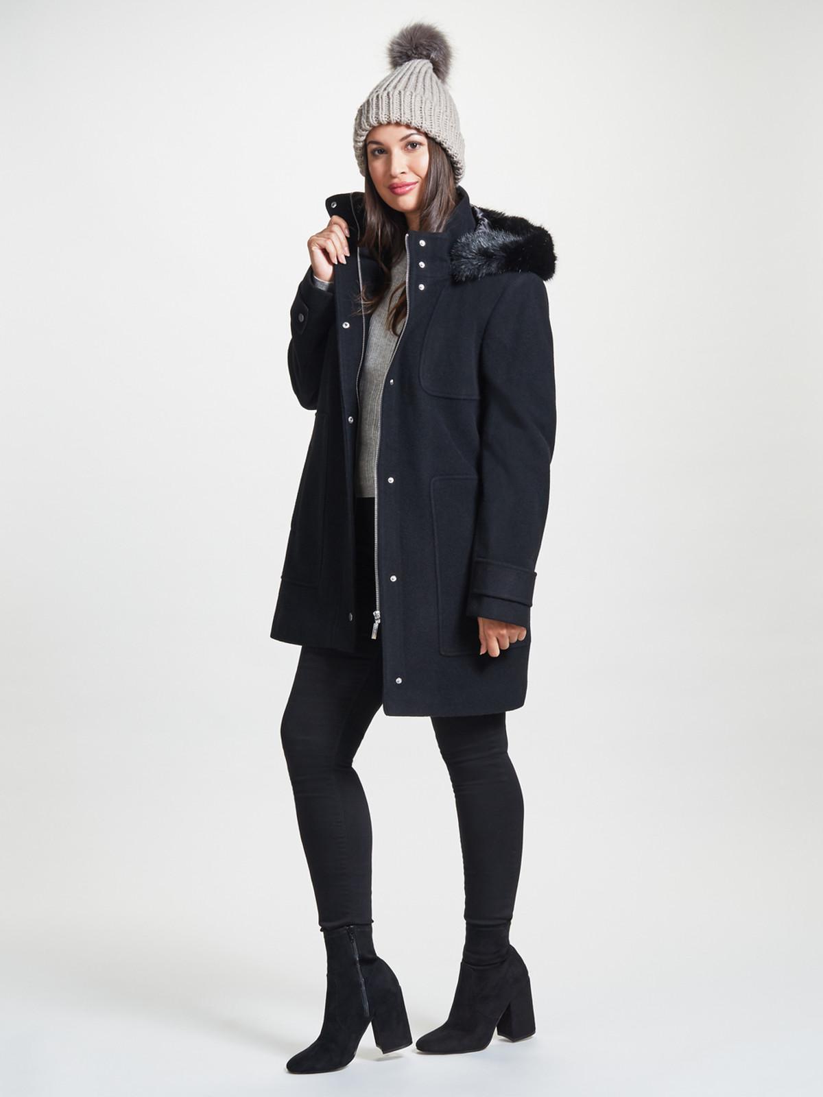 Parka with Fur Trimmed Hood, Black