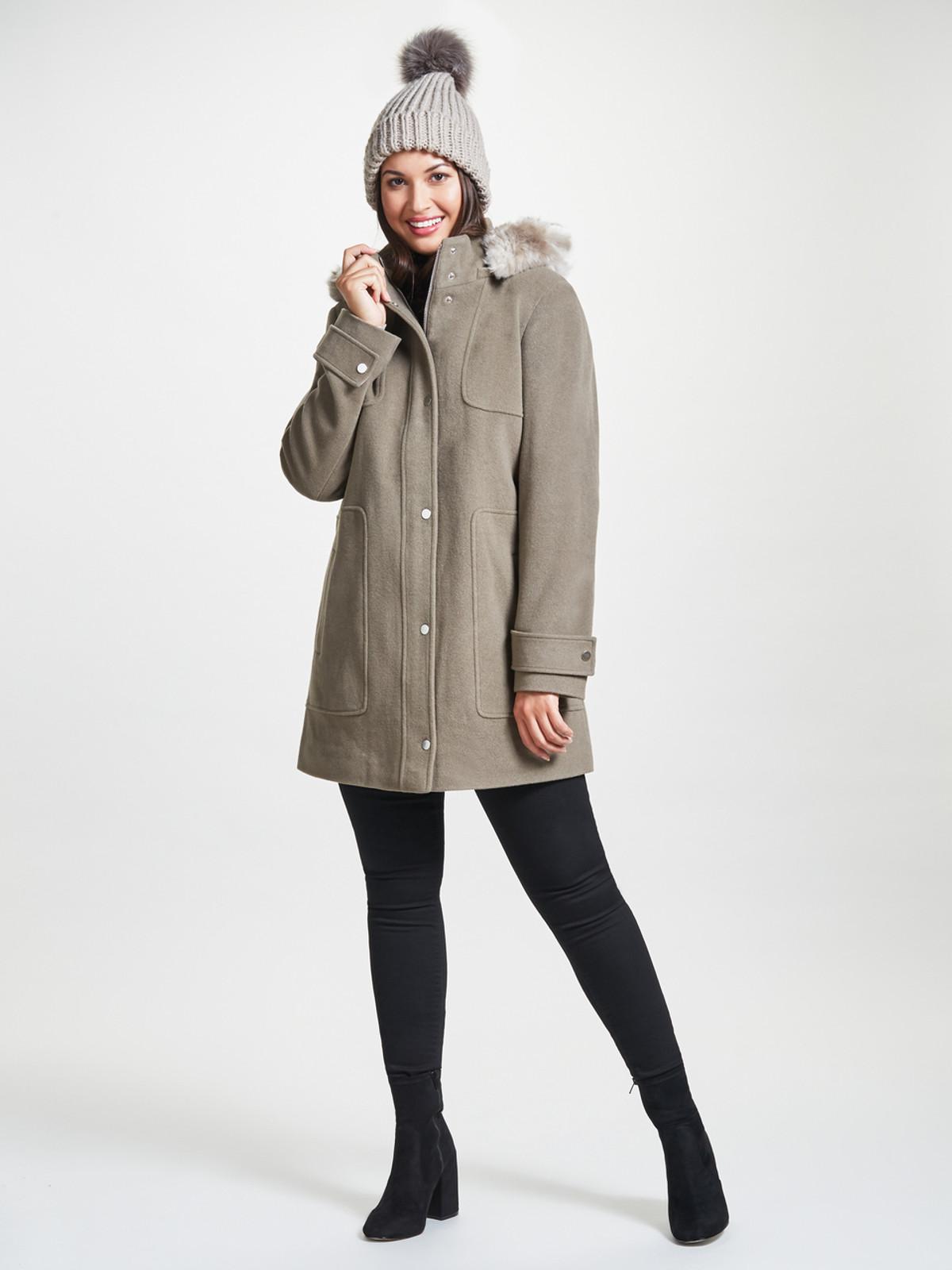 Parka with Fur Trimmed Hood, Sable