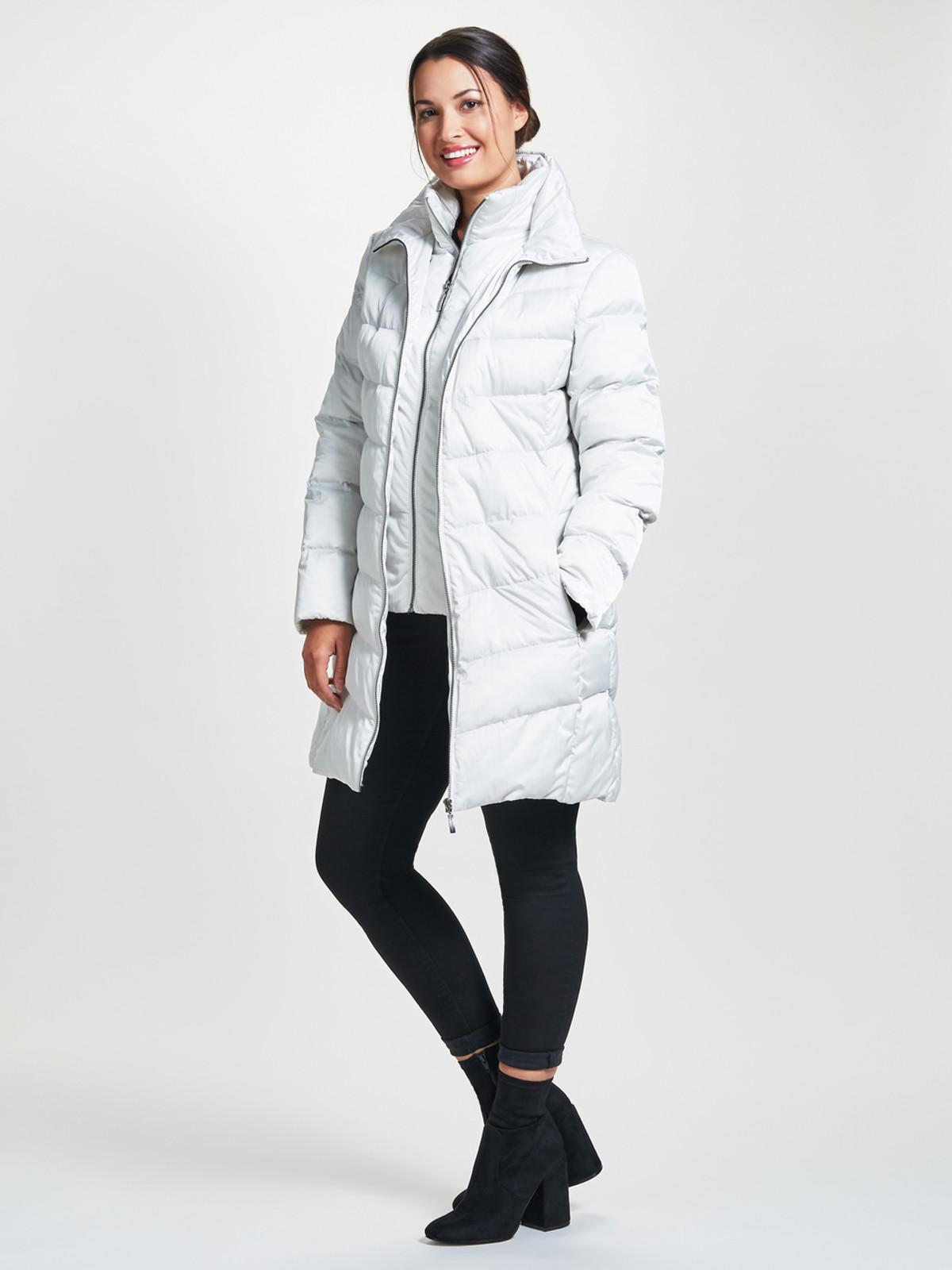 Wadded 3/4 Length Jacket, Winter White