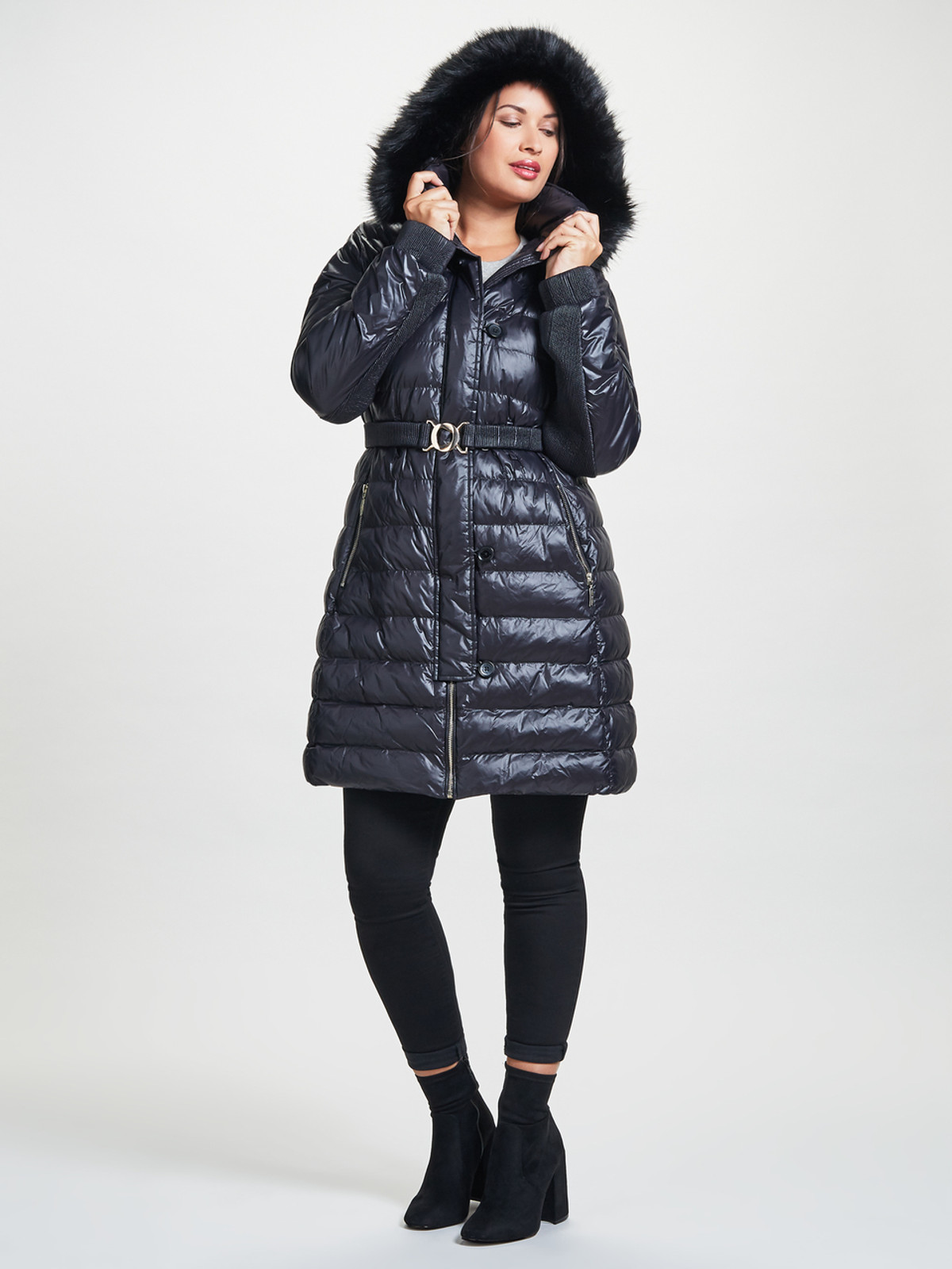 Belted Quilted Coat with Fur Trim, Black