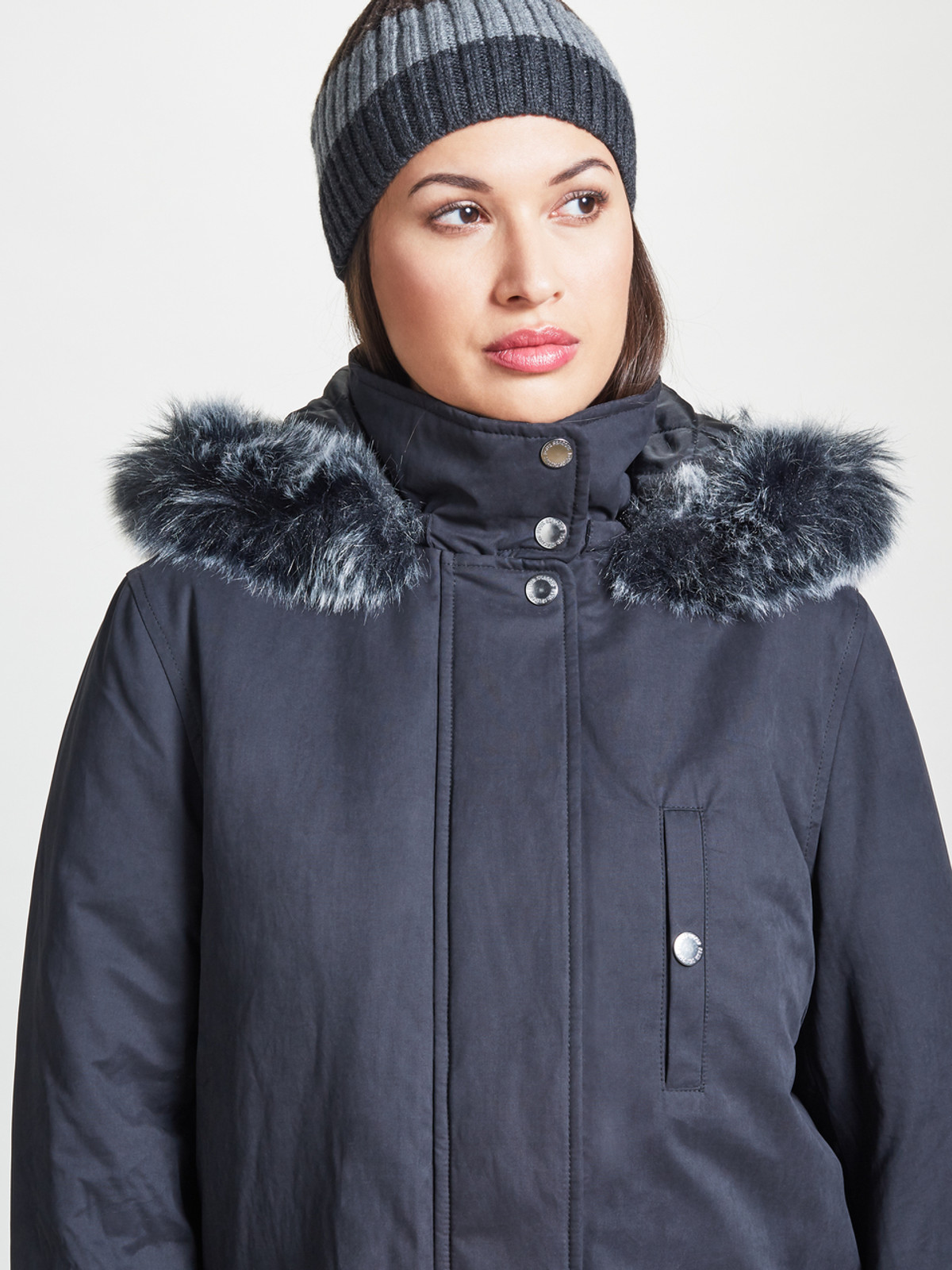 Caban with Fur Trim, Black