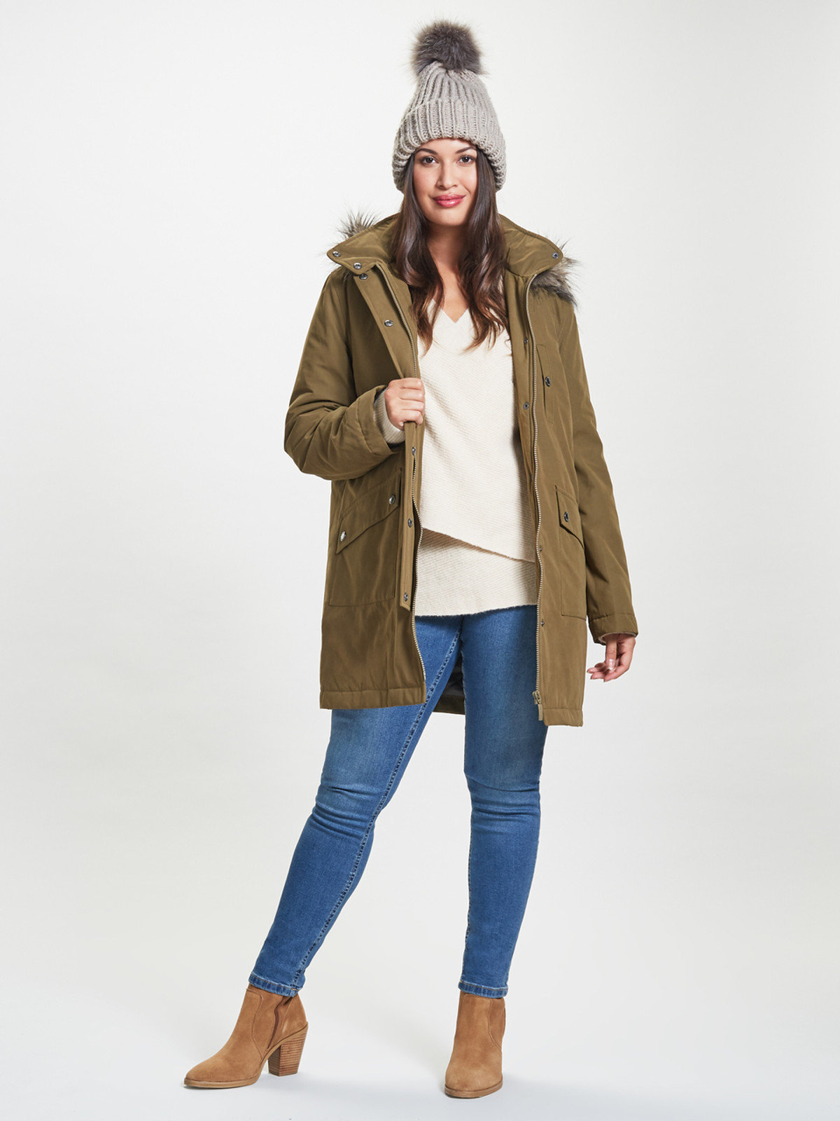 Caban with Fur Trim, Olive