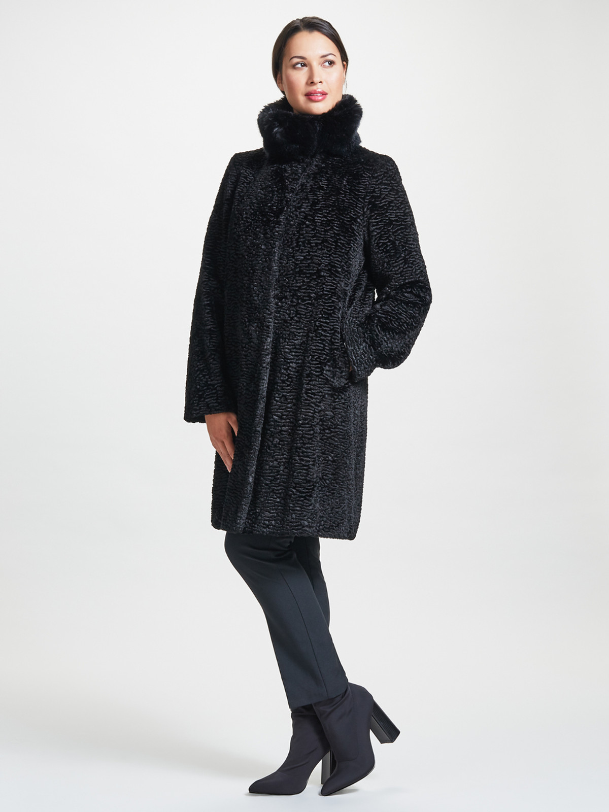 Astrakhan Coat with Fur Collar, Black.