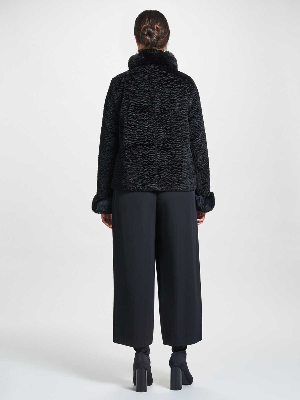 Astrakan Jacket  with Fur Collar & Cuffs, Black
