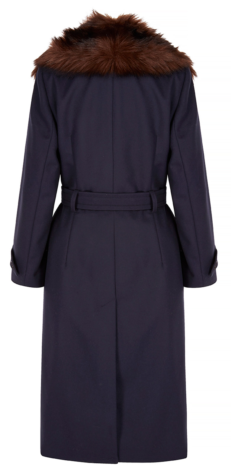 Fur Collar Coat, Navy