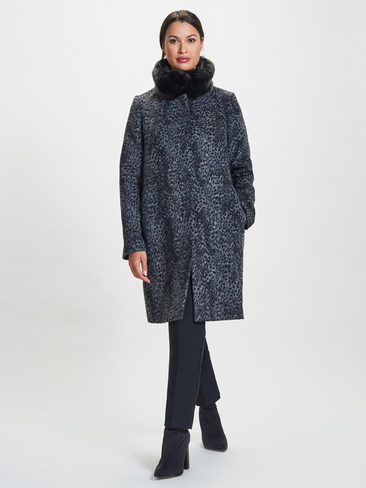 Leopard Fur Trimmed Coat, Grey