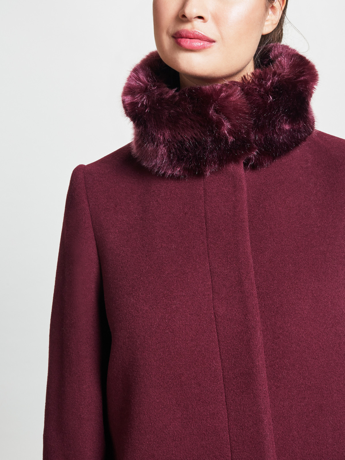 Fly Front Fur Collar Coat, Deep Berry