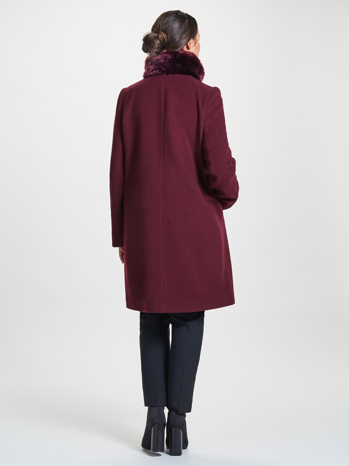 Petite Fly Front Fur Collar Coat, Deep Berry