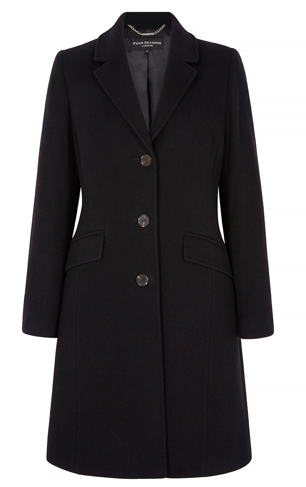 Top Stitch City Coat, Black