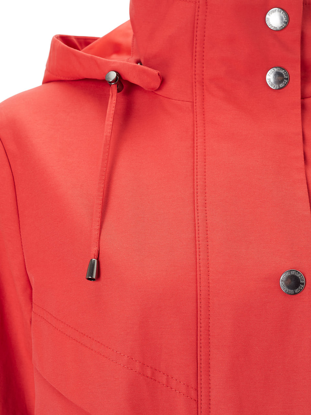 Longline Jacket with Waist Detail, Red
