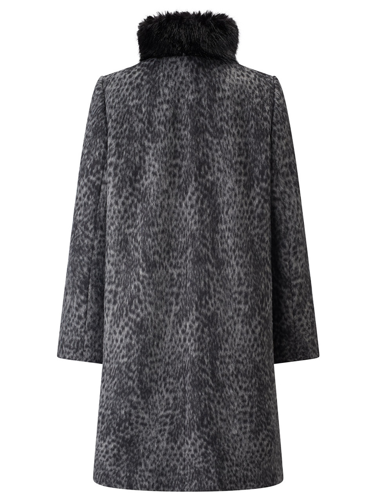Fur Trimmed Leopard Print Coat, Grey