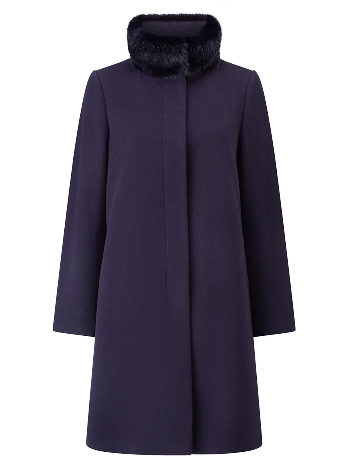 Fly Front Fur Collar Coat, Marine Navy