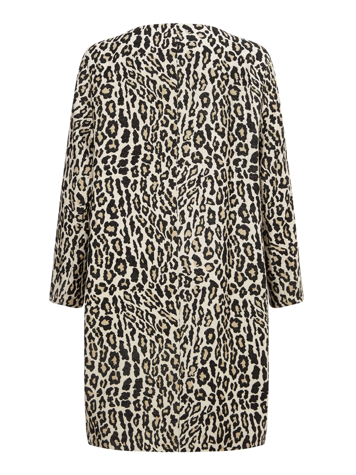 Collarless Animal Print Coat