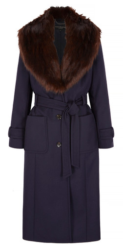 Fur Collar Coat, Navy