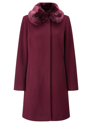 Fur Collar Coat, Berry