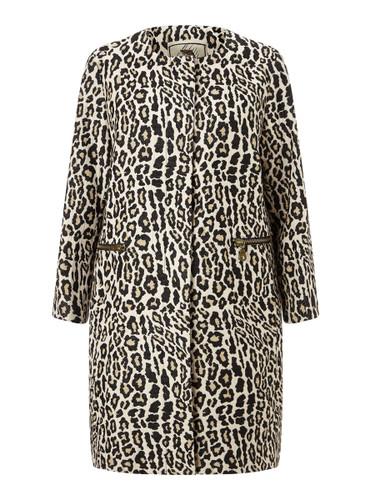 Collarless Animal Print Coat