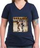 Robert Fuller ladies cotton V-neck t-shirt - Laramie Street - navy shirt