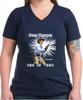 Robert Fuller Ladies dark cotton V-neck t-shirt - Jess Has My Back - Navy