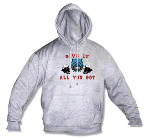 Athletic Hoodie - Weight lifting bull dog - give it all you got