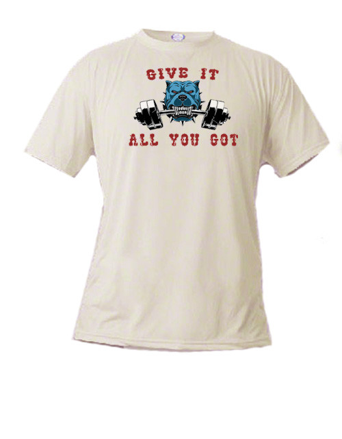 Athletic t-shirt - Weight Lifting Bull Dog - Give it all you got