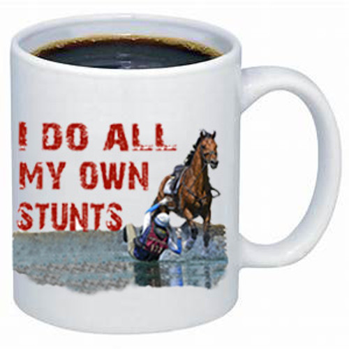 I Do All My Own Stunts coffee mug- English