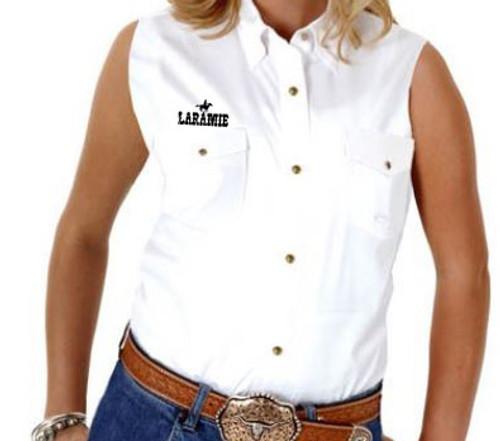 Ladies White Laramie sleeveless western shirt