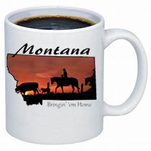 Montana Mug - ranch hand brings home a missing cow and calf