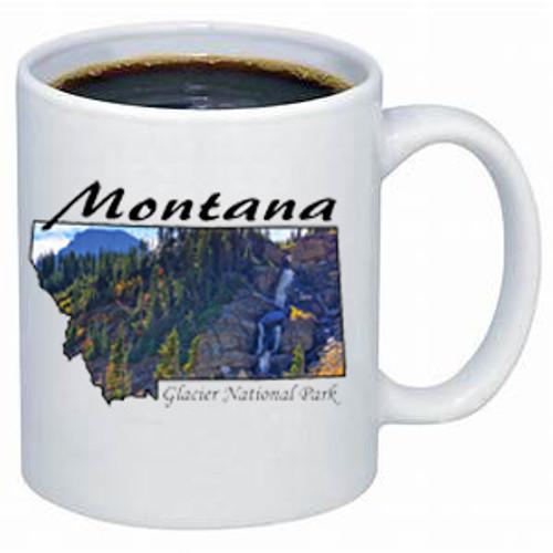 Montana Mug - Mountain stream falls off a cliff in Glacier National Park