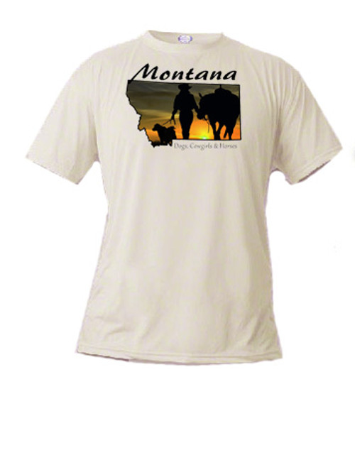 Montana t-shirt sunset silhouette of a Montana cowgirl with her dog and horse