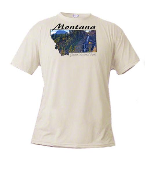 Montana t-shirt glacier stream falls over a cliff