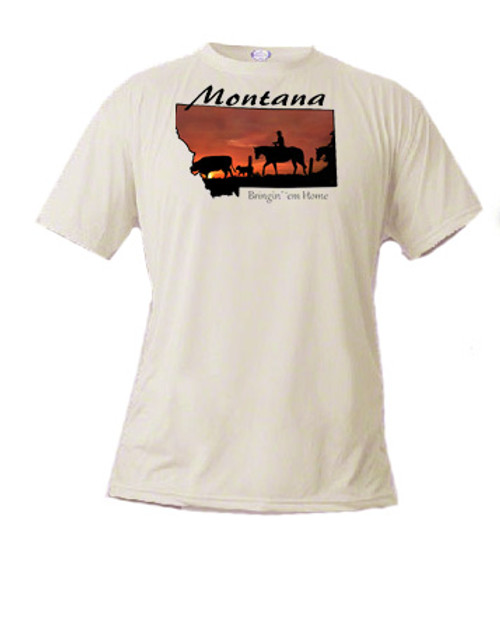 Montana T-shirt sunset silhouette ranch hand hazes home a cow and calf that had gone astray
