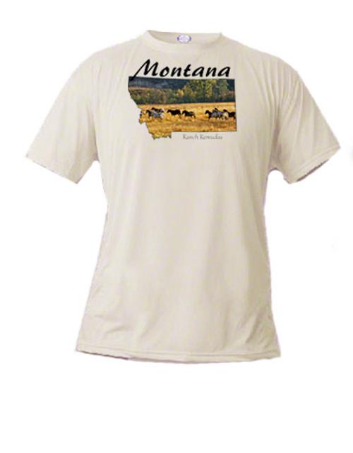 Montana t-shirt - ranch horses gallop across a pasture