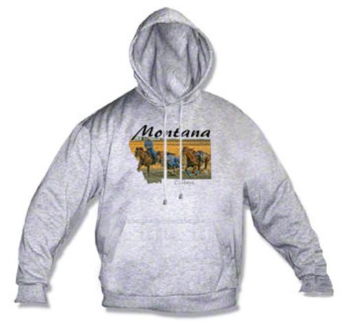 Montana hoodie - rodeo cowboys steer wrestling