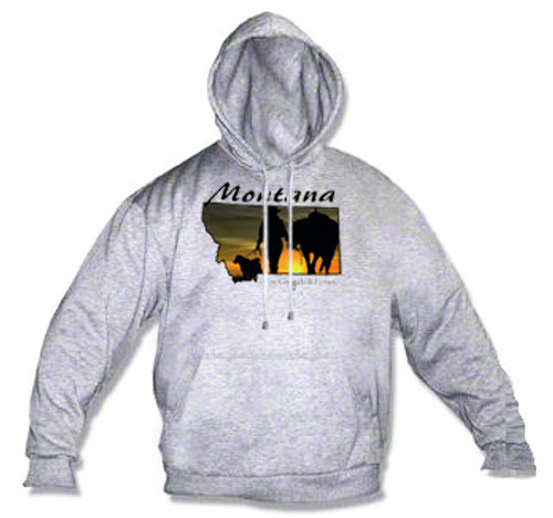 Montana hoodie - Montana sunset silhouette of a Montana cowgirl with her dog and horse