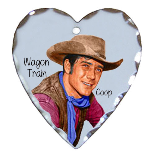 Robert Fuller silver plated heart shaped charm-Wagon Train's Cooper Smith