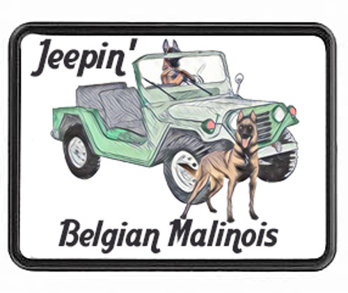 Trailer Hitch Cover-Jeepin' Malinois