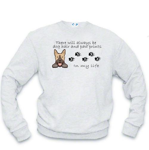 Dog Sweatshirt - Dog Hair and Paw Prints