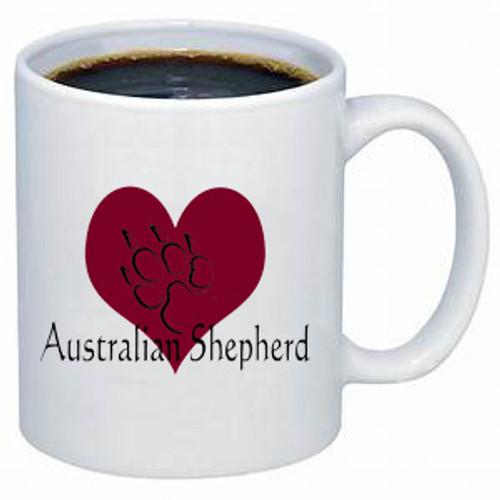 K9 Mug - Heart - Australian Shepherd