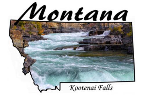 Montana design of Kootenai Falls near Libby, Montana