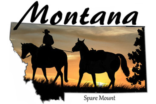 Montana design with a sunset silhouette of a cowboy leading a spare horse