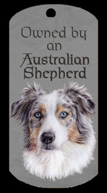 Australian Shepherd dog - dog tag for the owner to wear