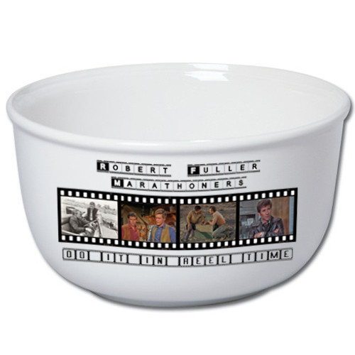 Robert Fuller stoneware popcorn bowl- Marathoners do it in reel time
