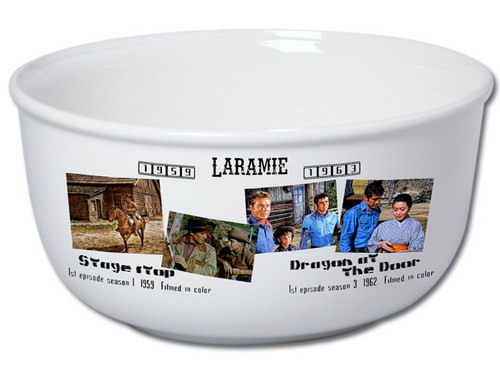 Robert Fuller Stoneware popcorn bowl-Laramie years in Living Color