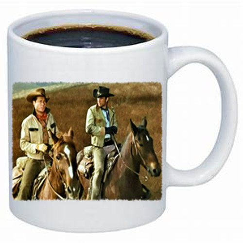Robert Fuller Laramie coffee mug - Riding along with Slim and Jess