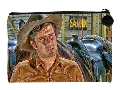 Robert Fuller Small zippered bag - Matt Martin in front of the saloon - from Incident at Phantom Hill