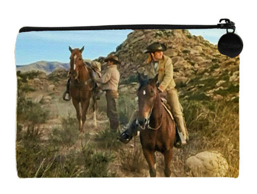 Robert Fuller Small zippered bag - Jess Harper sits his horse as he waits for Slim to tighten his cinch